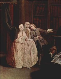 A visit to the library, painting by Pietro Longhi
