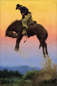 The cowboy in this painting is an Arizona cowboy by the name of Barney Prosser. Sometimes a bronc will just 'blow up' for no apparent reason, and all horses buck differently. Some buck straight, some spin, and as is in this case, Barney is riding a bucking bronc that is 'Getting High.'