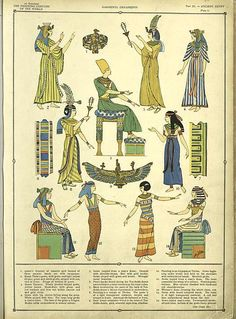 One of hundreds of thousands of free digital items from The New York Public Library. Ancient Egyptian Clothing, Ancient Egypt Fashion, Egyptian Fashion, Ancient Egyptian Art, Egyptian Costume, Egyptian Mythology, Illustration Art, Illustrations, Historical Costume