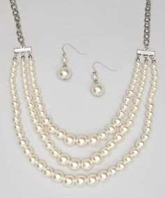 Take a look at this Silver & White Triple-Strand Necklace & Earrings on zulily today!