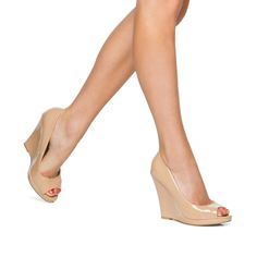 👠 The 'Isra' Nude Peep Toe Wedge 👠 Shiny faux patent leather, wedge heel, peep toe style & chic chic chic chic CHIC! Peep Toe Shoes, Peep Toe Wedges, Aldo Shoes, Sock Shoes, Wedge Sandals, Shoes Heels, Nude Wedges, Bridesmaid Shoes, Shoes