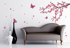 Flashy Wall Decal Design - 20 Cool Wall Decoration Ideas - Home Decoration Tree Wall Painting, Simple Wall Paintings, Apartment Walls, Butterfly Wall Stickers, Cool Walls, Bedroom Wall, Wall Design, Wall Decals, Wall Art