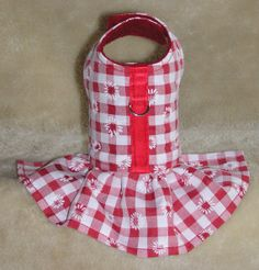 """Butterflies Garden Red Daisy Check Dress Dog Vest Body Harness sizes from xxxs 6"""" up to xs 10"""" neck chihuahua yorkshire terrier"""