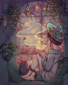 """Rainy nights and starry teas"" by Qinni Art And Illustration, Art Illustrations, Cartoon Kunst, Cartoon Art, Fantasy Kunst, Fantasy Art, Yuumei Art, Witch Art, Animes Wallpapers"