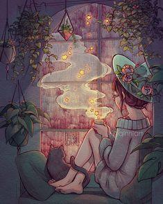 """Rainy nights and starry teas"" by Qinni Art And Illustration, Art Illustrations, Cartoon Kunst, Cartoon Art, Fantasy Kunst, Fantasy Art, Yuumei Art, Witch Art, Animes Wallpapers"