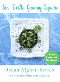 Crochet Sea Turtle Granny Square | Sea Turtle Applique | Free Crochet Pattern | Ocean Themed Granny Square Afghan