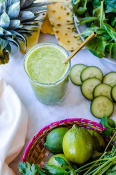 #ad|Jugo Verde or Mexican Green Juice made with California grown produce, including nopales, the cactus paddles that give this juice an extra health boost. #cagrown #holajalapeno #jugoverde #greenjuice