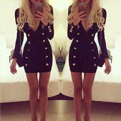 Sexy & Sleek at the same time. Shop Mini Bodycon Button Dress on fashionfrenzzie.com ✖ #fashionfrenzzie