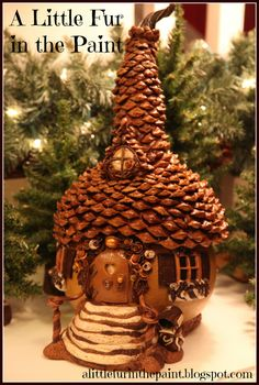 The home of Godiva the Chocolate Fairy...OOAK Gourd/Polymer Clay Fairy House ~ Anne Berbling  www.alittlefurinthepaint.blogspot.com