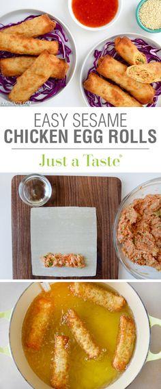 Easy Sesame Chicken Egg Rolls recipe via justataste.com