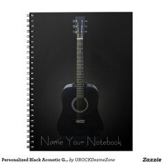 Personalized Black Acoustic #Guitar #Music #Notebook  #zazzle