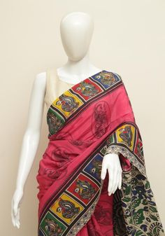 Printed Kalamkari Saree in Khadi Silk Kalamkari Saree, Indian Crafts, Designer Earrings, Sarees, Ethnic, Fancy, Silk, Printed, Beautiful