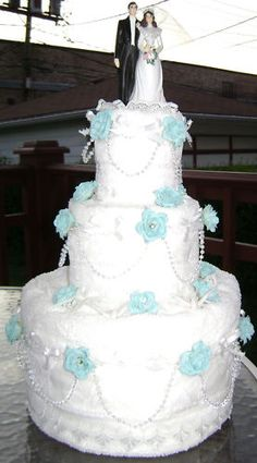 Towel cake- handmade - great idea for a shower!