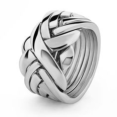 UNISEX 7 band STERLING SILVER Puzzle Ring 7BDS