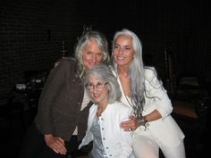 """Diana Jewell (center), author of """"Going Gray, Looking Great"""" with model/cosmetic entrepreneur Cindy Joseph (left) and model/photographer Yasmina Rossi (right). Long Gray Hair, Silver Grey Hair, White Hair, Going Gray Gracefully, Aging Gracefully, Yasmina Rossi, Silver Haired Beauties, Drop Dead Gorgeous, Ageless Beauty"""