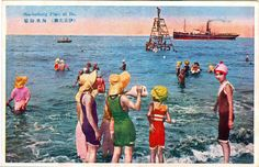 Sea-bathing place 海水浴場 at Itou 伊東, Shizuoka, Japan - Hand-colored postcard - c. 1930