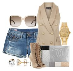 Untitled #314 by scannedbyaaron on Polyvore featuring polyvore, fashion, style, Balmain, True Religion, Rolex, Salvatore Ferragamo, Chanel and clothing