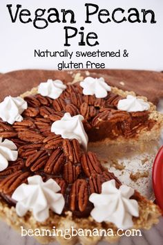 Sweet, gooey, vegan pecan pie. Packed with pecans and fall spices, this ooey gooey pie is so rich. A must make, healthy Thanksgiving dessert! Gluten free and sweetened naturally.   beamingbanana.com