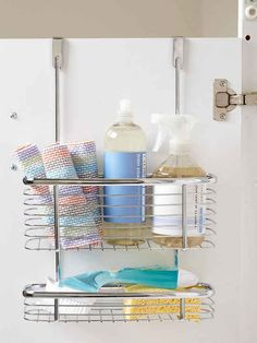Organize This: Spring Cleaning Supplies! Using an over the door organizer for cleaning supplies in a cabinet. Bathroom Organization, Organization Hacks, Organizing Tips, Organising, Bathroom Storage, Small Bathroom, Bathroom Ideas, Cleaning Cabinets, Kitchen Cleaning