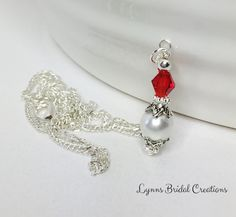 White Pearl Necklace Pendant Necklace by LynnsBridalCreations