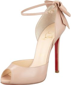 CHRISTIAN LOUBOUTIN Beige Dos Noeud Peeptoe Ankle Wrap Red Sole Pump Nude