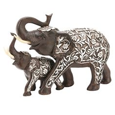 Elephant Figurines - 25cm Mother and Baby Elephant Ornament