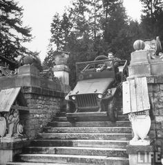 King Michael I of Romania driving around Peles Castle 1946 [1070 x 1080]