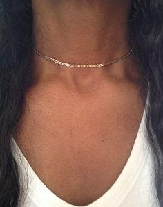 Gold Collier Halskette Silber Choker Halskette von PABJewellery