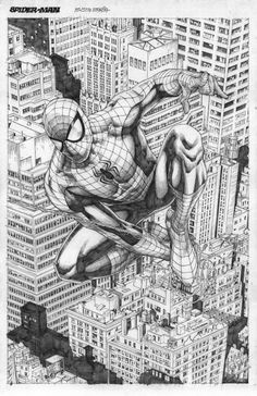 spider-man sky scrapers by mikitot Spiderman Noir, Spiderman Drawing, Spiderman Spider, Amazing Spiderman, Marvel Fan Art, Marvel Comics Art, Marvel Comic Universe, Comic Book Characters, Comic Books Art