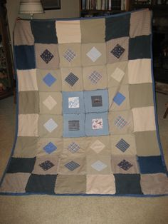 My mom @bethmillergreen made this rag quilt for me from my old jeans and khaki pants.  Patches were cut from maternity clothes and a few keepsake items.#thesewingparty #repurpose #diy #maderemade