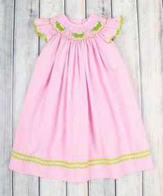 This Pink Gingham Gator Smocked Bishop Dress - Infant, Toddler & Girls is perfect! #zulilyfinds