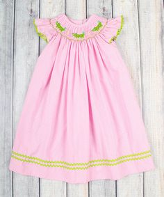 This Pink Gingham Gator Smocked Bishop Dress - Infant, Toddler & Girls by Stellybelly is perfect! #zulilyfinds