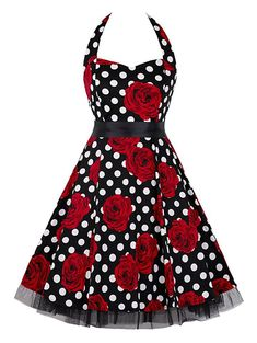 50s 60s Classic Vintage Retro Halter Polka-dot Dance Party Casual Swing  Dresses  Charmian da81cc361a4d