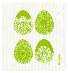 """Schwammtuch """"Ostern"""" (grün). Das bedruckte Schwammtuch ist ein Naturprodukt und einfach in der Waschmaschine zu reinigen. Es verfärbt nicht, hat eine lange Lebensdauer und ist kompostierbar. Produziert in Deutschland. 20 cm x 22 cm. 70% Viskose, 30% Baumwolle. - Erhältlich bei: http://shop.hokohoko.com"""
