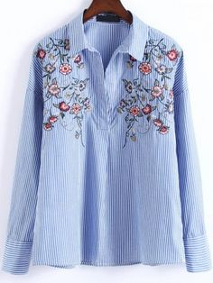 Blue Vertical Striped Floral Embroidery Blouse | WithChic