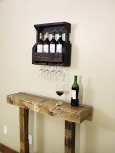 Wine Rack, 4 Bottle Wine Rack, Pallet Wine Rack, Reclaimed Wood, Rustic Home Decor, Wedding Gift, Pallet Furniture, Wooden Shelf, Mini Bar,