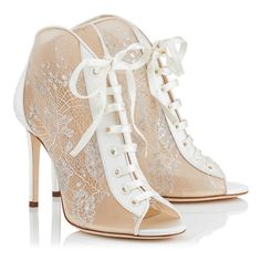 FREYA 100-White Lace and Satin Ivory Peep Toe Booties