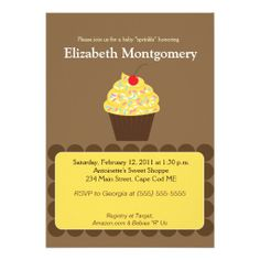 Yummy Cupcake Baby Shower Sprinkle 5x7 Custom Invitations