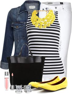Black White Stripes Pink Yellow Silver Outfit. Love the white pants and striped shirt with the pop of yellow