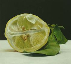 Single lemon - Rafael de la Rica - 40x37 cm - Oil in Wood