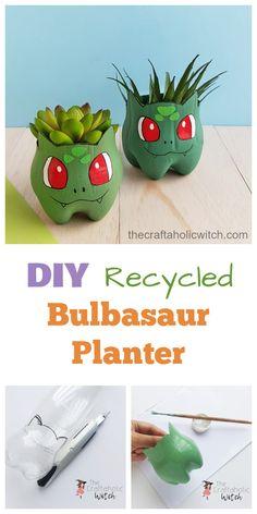DIY Recycled Bulbasaur Planter – Recycling DIY's – Recycling Pokemon Craft, Pokemon Gifts, Pokemon Party, Pokemon Birthday, Pokemon Fan, Recycled Crafts, Diy And Crafts, Recycled Tires, Recycled Bottles