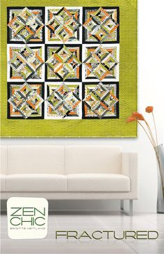 Zen Chic - Fractured - Quilt Pattern - FRQP. Love the offset border!!! Use on log cabin art quilt.