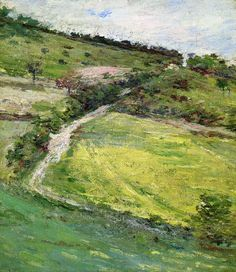 Theodore Robinson (American, 1852-1896), [Old Lyme Colony, Impressionism] Hillside in Giverny, France, 1891.