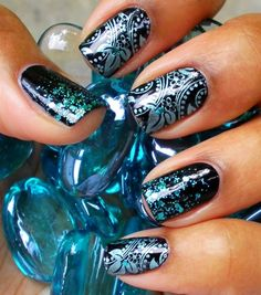 Nails, Nail Polish, Nail Art / Blue glitter nails