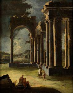 ANTIKE RUINEN MIT FIGURENSTAFFAGE IN NÄCHTLICHER BELEUCHTUNG Öl auf Leinwand. 89,5 x 77 cm. Der Maler studierte bei Andrea Pozzo (1642-1709) und starb nach...