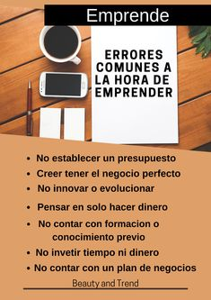 Así como te damos algunos consejos básicos para emprender desde cero, También queremos mostrarte algunos errores comunes que muchas personas cometen al emprender y esto causa que sus negocios no prosperen. Pronto traeremos mas información. Siguenos!! Plans, Make Money, Innovative Products, Tips, People