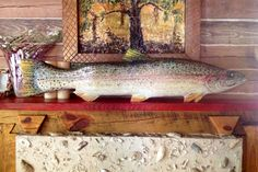 Large Rainbow Trout 4ft chainsaw wooden trout carving colorful trophy lake fish realistic taxidermy wall mount rustic cabin home decor art by oceanarts10 on Etsy