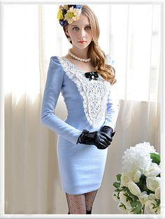 Morpheus Boutique  - Blue Hollow Out Ruffle Long Sleeve Vintage Style Pencil Dress