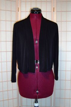 New WOT Calvin Klein Sz L Black Liquid Knit Shrug Bolero Dress Jacket…