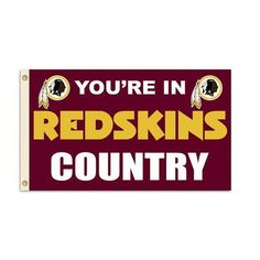 Washington Redskins Country Flag This decorative National Football League flag will fly proudly on your game room wall or outside for all your neighbors to envy. Officially licensed NFL 3' x 5' flag w